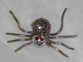 Tiny (but Scary!) Silver Spider Brooch  (Sold)